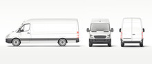 White Industrial Van Isolated On Bright Background. 3d Rendering