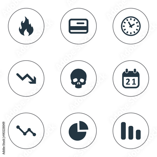 Vector Illustration Set Of Simple Trouble Icons Elements Circular Diagram Agenda Clock And