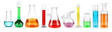 Set Of Laboratory Glassware On...