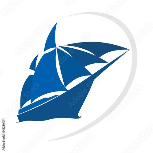 Photo  ship and sail logo vector.