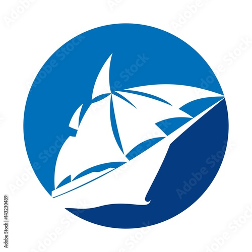 Photo  ship and sail logo vector.
