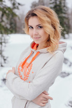 Winter Portrait Of Young Beautiful Woman