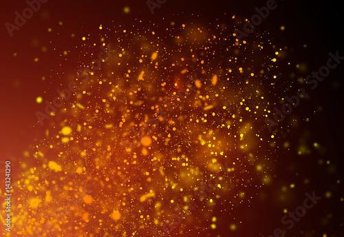 Dark Gold Glitter Sparkles Rays Lights Bokeh Festive