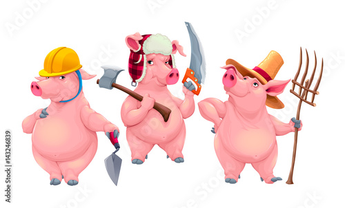 Poster Chambre d enfant Three little pigs