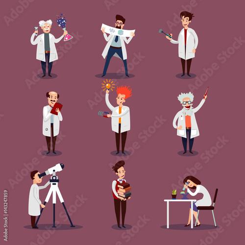 Scientists Characters Set Canvas Print
