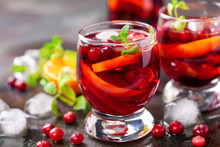 Summer Drink Sangria With Orange And Cranberry. Selective Focus. Copy Space