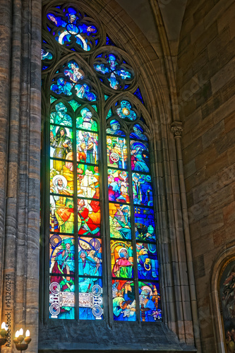 Photo  Stained glass window painted by Alphonse Mucha St Vitus Cathedral