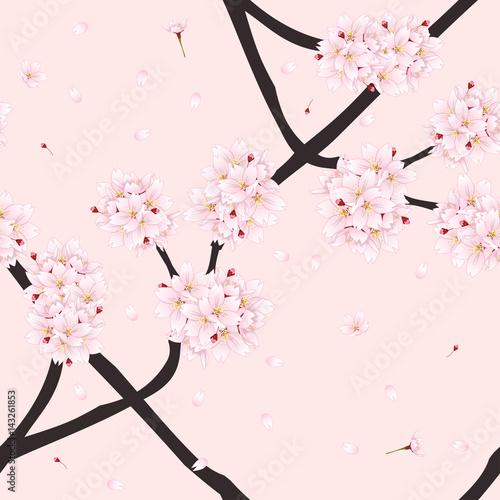 Cotton fabric Sakura Cherry Blossom Flower on Light Pink Background