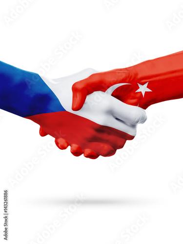 Photo  Flags Czech Republic, Turkey countries, partnership friendship handshake concept