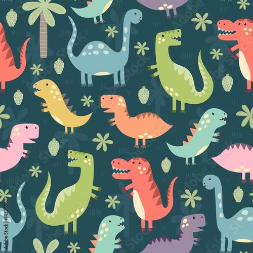 Materiał do szycia Jednolity wzór zabawny dinozaurów