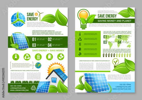 Saving Energy Brochure Template For Eco Design Buy This Stock