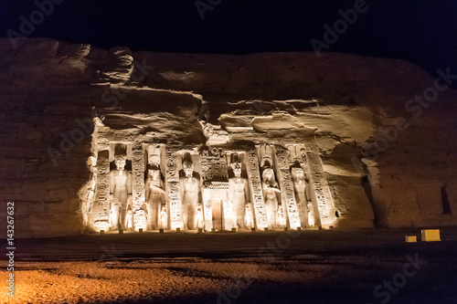 Fotografie, Obraz Queen Nefertari temple at night, Abu Simbel, Egypt
