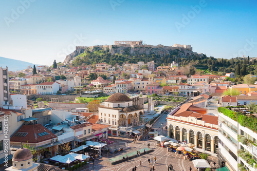 Staande foto Athene Skyline of Athenth with Moanstiraki square and Acropolis hill, Athens Greece