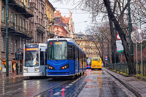 Running trams in city center of Krakow