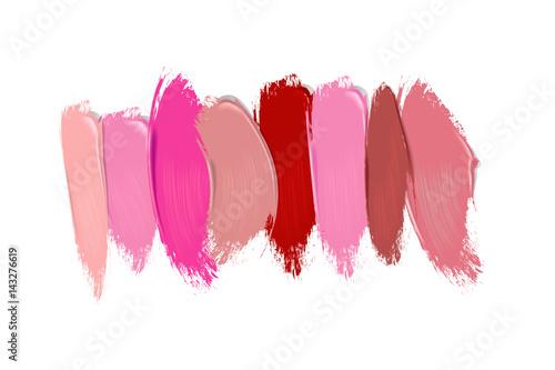 Canvastavla Collection of lipstick smears on white background