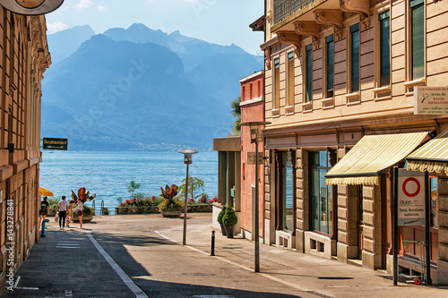 Canvas Print Street in Montreux town center at Geneva Lake