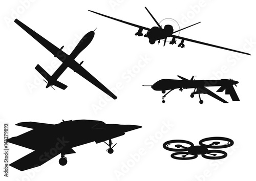 Drone vector silhouettes collection Canvas Print