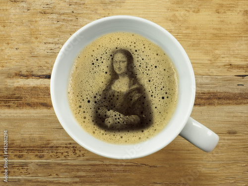 Mona lisa in coffee froth Canvas Print
