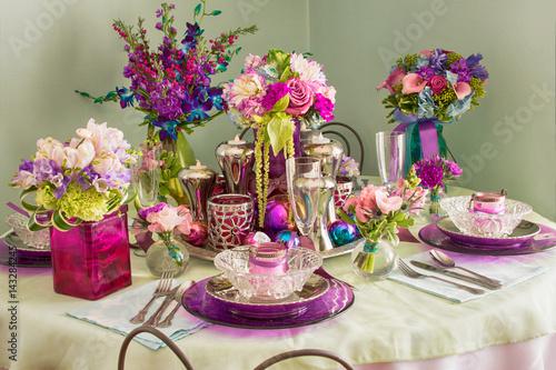 vintage table setting for spring Fototapet