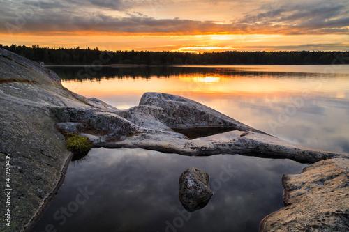 Sunset in Swedish archipelago during summer Wallpaper Mural