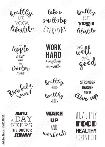 Autocollant pour porte Positive Typography sport and healthy lifestyle motivation quotes