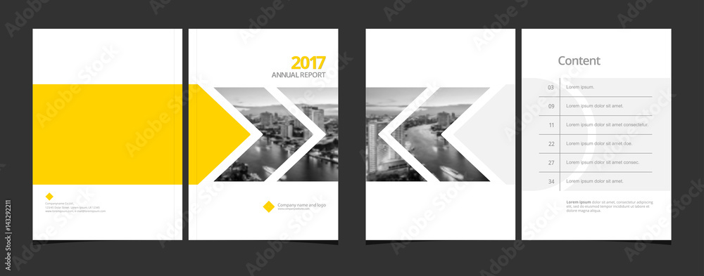 Fototapeta Cover design and content page template for corporate business annual report or catalog, magazine, flyer, booklet, brochure. A4 cover vector EPS-10 sample image with Gradient Mesh.