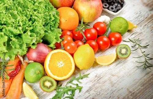 Healthy eating, healthy diet - fresh organic fruit and vegetable © lola1960