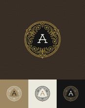 Flourishes Glitter Gold Monogram Logo. Vector Illustration.
