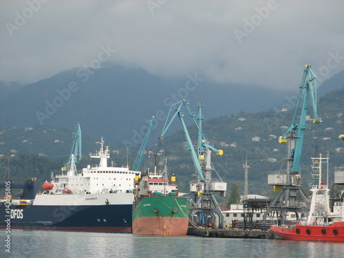 Port of Batumi, Adjara, Georgia. Cargo ships for commercial shipments