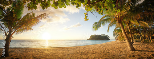 Panoramic view on Beautiful colorful sunset over sea. Phillipines Islands.