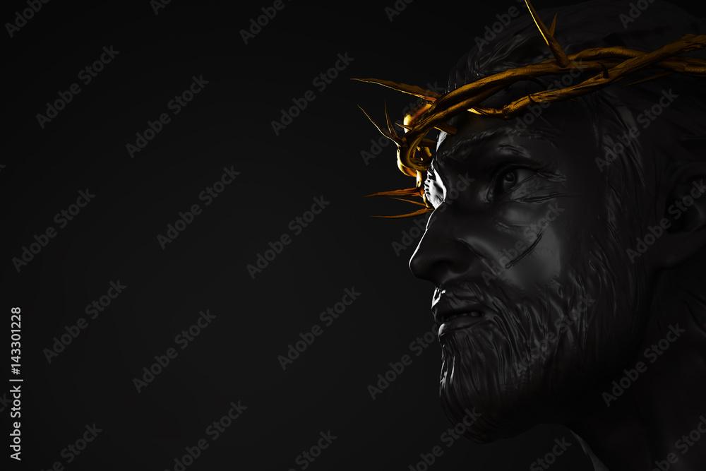 Fotografía Estatua de Jesucristo con oro Corona de espinas ...
