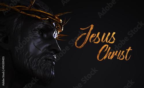 pomnik-jezusa-chrystusa-tekst-ze-zlota-korona-cierni-3d-renderowania-boczny-kat