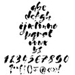 Hand drawn dry brush font. Modern brush lettering. Grunge style alphabet. Vector illustration.