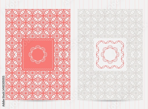 5x7 inch size cards with frames and logo  Vector luxury templates