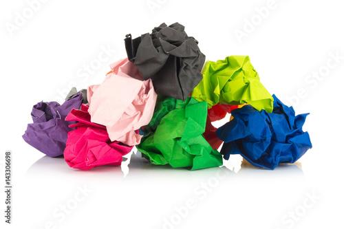 Fototapeta paper ball. colorful. crumpled. isolated on white background obraz na płótnie