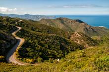 Winding Road Through Mountains In The Coast Of Cap De Creus, Girona, Spain