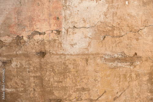 Aluminium Prints Old dirty textured wall The cracked stucco texture