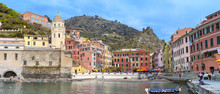 Vernazza, Liguria (Italy) Panorama. Color Image