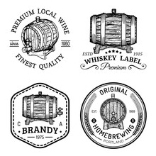 Alcohol Logos.Wooden Barrels Set With Drinks Signs Of Cognac,brandy,whiskey,wine,beer.Labels, Badges With Sketched Kegs.