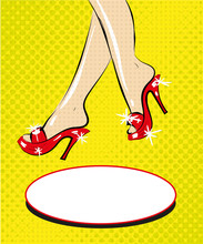 Legs Of Woman In Red Shoes On ...