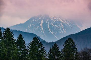 Panel Szklany Góry Sunset in Alps
