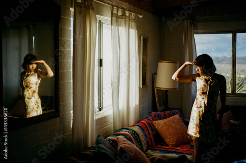 Woman in vintage home