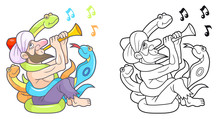 Cartoon Snake Charmer Plays On The Pipe