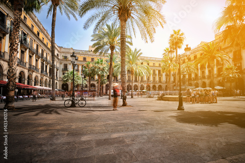 Photo sur Toile Barcelona Plaza Real in Barcelona