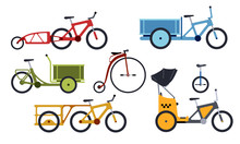 Color Set Of Utility  Bicycles And Tricycles Silhouette Icons. Vector Isolated Clipart