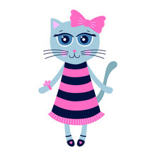 Cute Kitty. Hand Drawn Cat Girl In Dress And Shoes. With Big Pink Bow On Her Head. Isolated. Vector Illustration In Flat Style. On White Background.