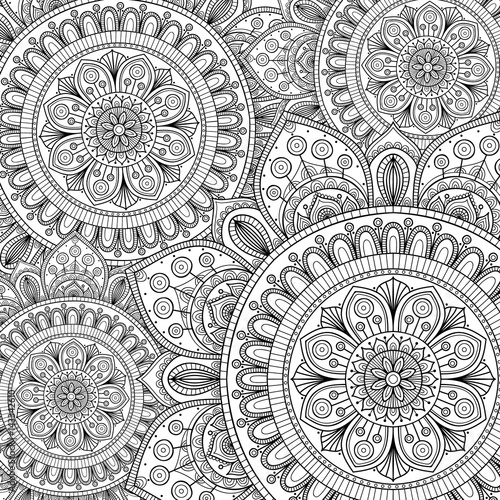 Doodle pattern with ethnic mandala ornament Принти на полотні