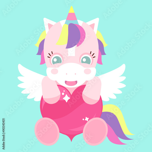 A cute unicorn with a pink heart and wings Canvas Print