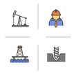Oil industry color icons set
