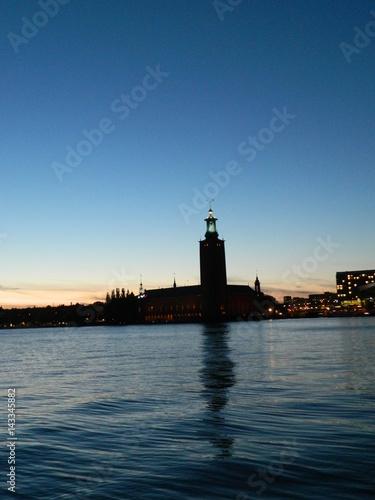 Montage in der Fensternische Leuchtturm Stockholm sunset